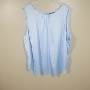 The Limited Icy Blue Satin Sleeveless Shell Top 2X